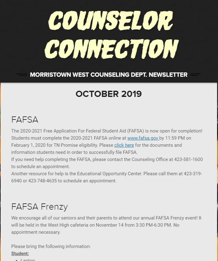 Counselor Connection for October
