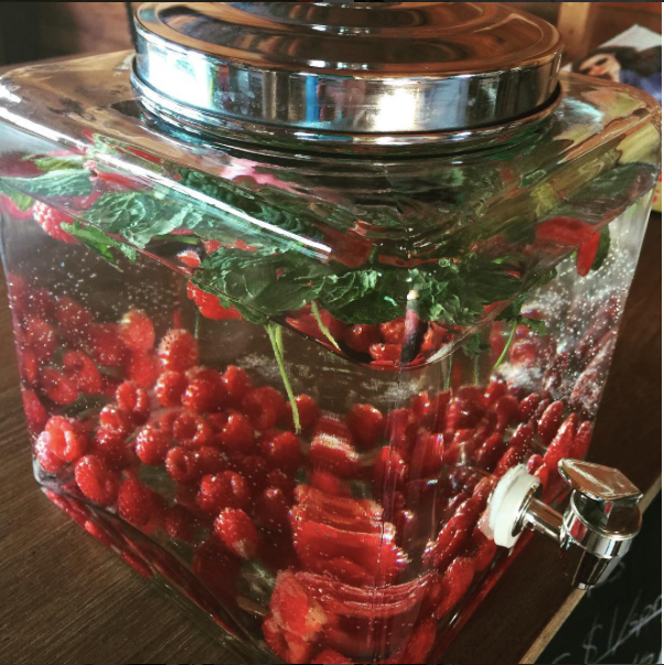 Raspberry and mint infused water in the Angelic Gardens Victorian Shoppe
