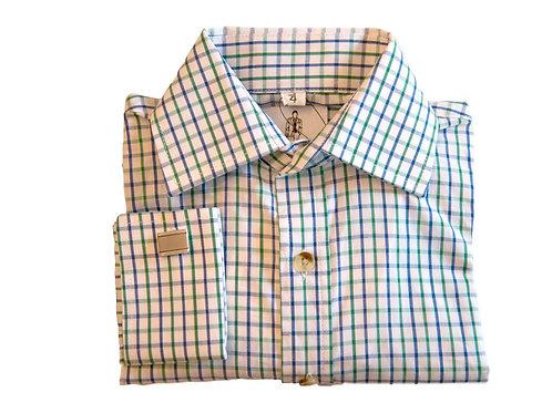 Boys French Cuff - Blue|Green Checkered
