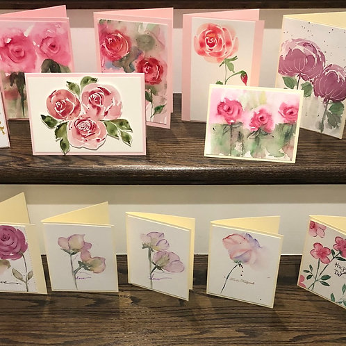 Assorted Watercolor Original Floral Cards OOAK A2