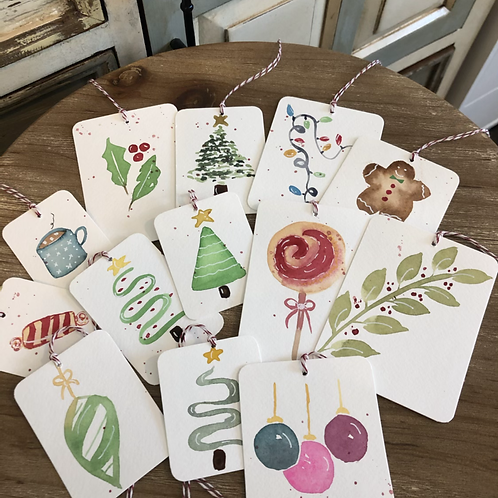 Assorted Watercolor Christmas Tags