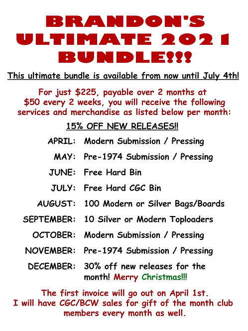 Brandon's Comics gift of the month club! Prices go up starting April 1st!!!