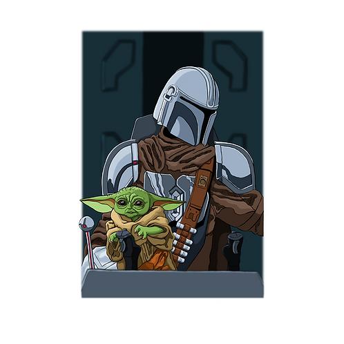 "Mando and Baby Yoda Fan Art Print, 11"" X 17"""