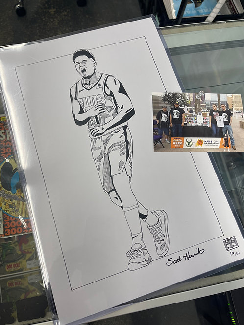 Devin Booker 11 X17 art print with the toploader.