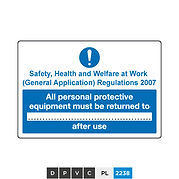 All personal protective equipment must be returned to (insert text) after use