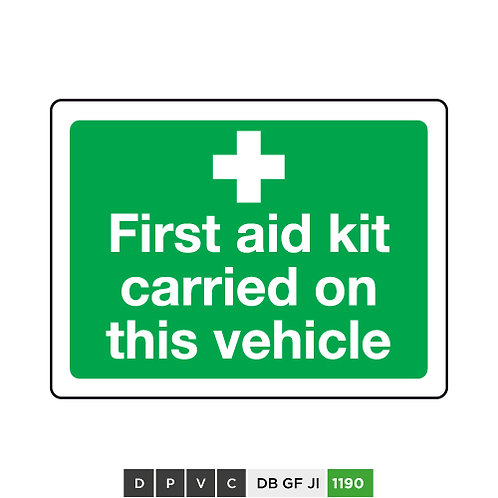 First aid kit carried on this vehicle