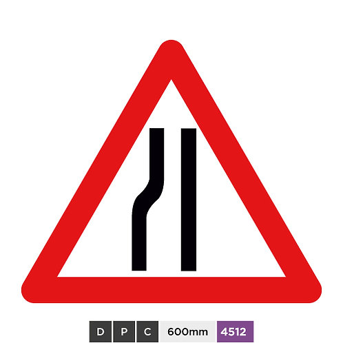 Road narrows on left