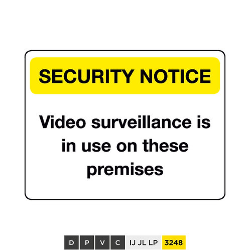 Security Notice, Video surveillance is in use on these premises