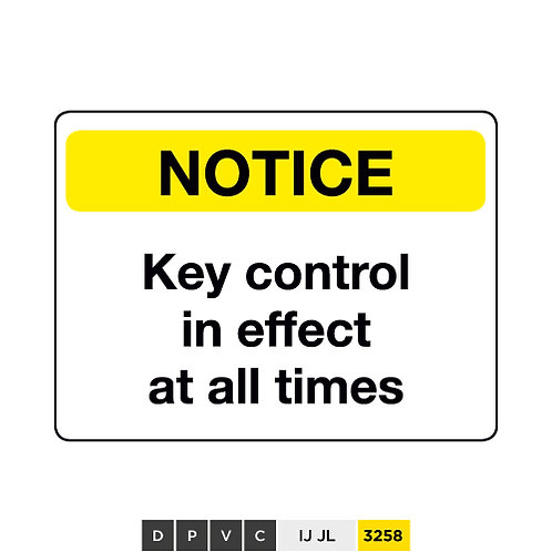 Notice, Key control in effect at all times