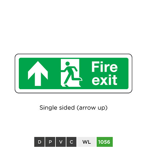 Fire exit  (arrow up) - single sided