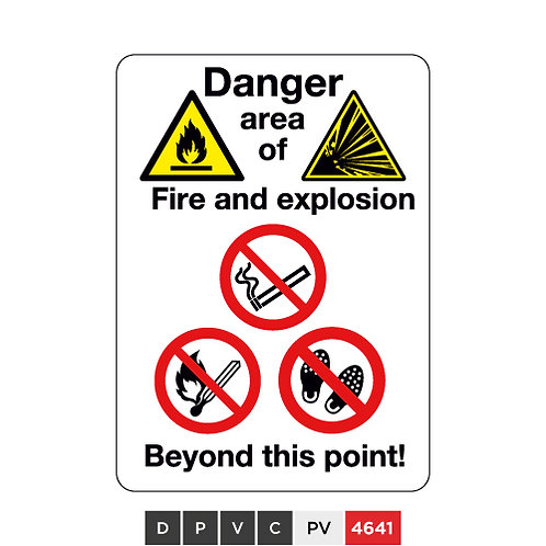 Danger area of Fire and explosion beyond this point