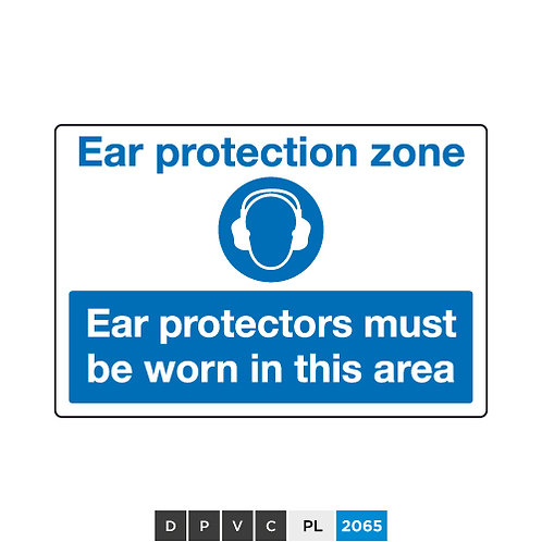 Ear protection zone, Ear protectors must be worn in this area