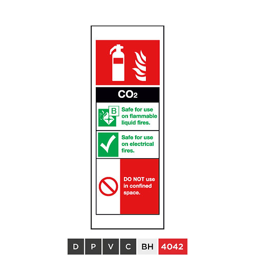 Fire extinguisher, CO2, DO NOT use in confined space
