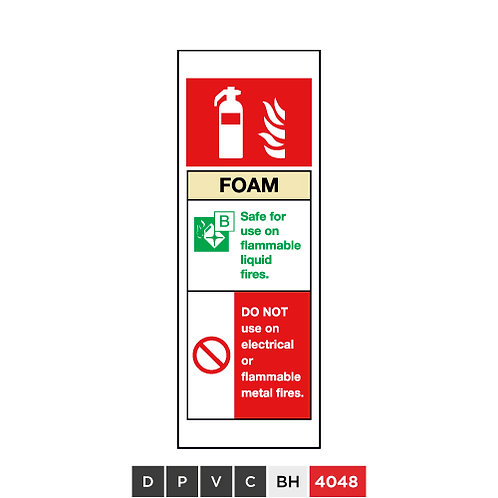 Fire extinguisher, Foam, DO NOT use on electrical or flammable metal fires