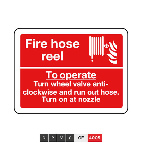 Fire hose reel, To operate, Turn wheel valve anti-clockwise and run out hose...