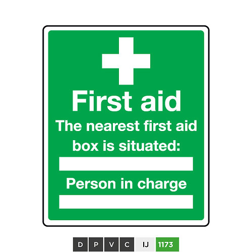 First Aid, The Nearest First Aid Box is Situated (insert text)
