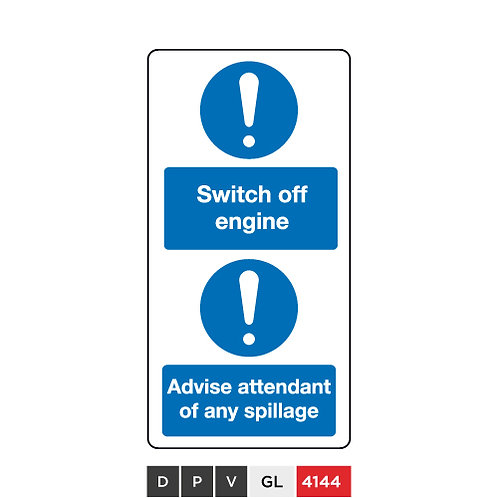 Switch off engine, Advise attendant of any spillage