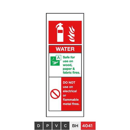 Fire extinguisher, Water, DO NOT use on electrical or flammable metal fires