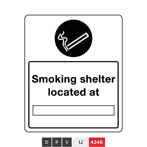 Smoking shelter located at (insert text)