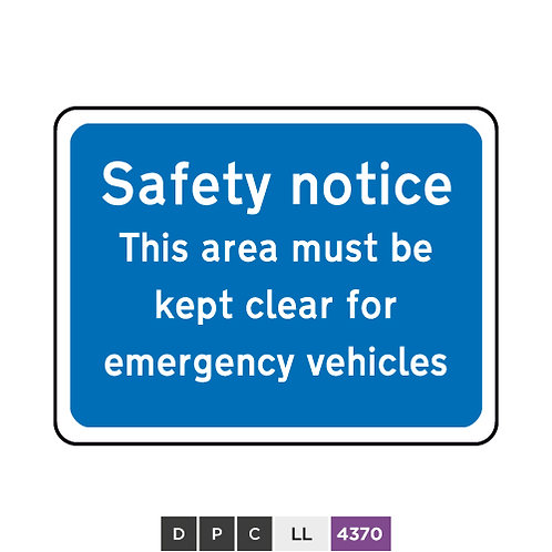 Safety notice, This area must be kept clear for emergency vehicles