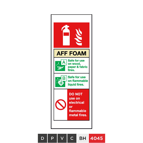 Fire extinguisher, AFF Foam, DO NOT use on electrical or flammable metal fires