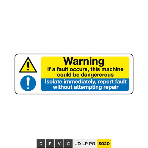 Warning, If a fault occurs, isolate immediately, report without repairs