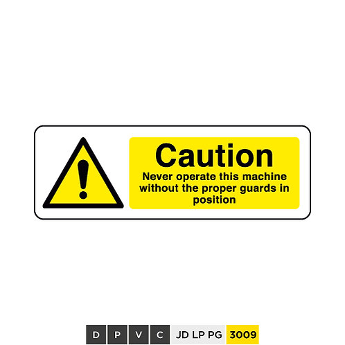 Caution, Never operate this machine without proper guards in position