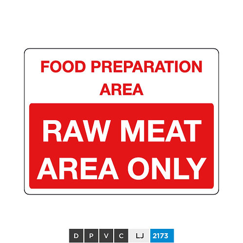 Food preparation area, raw meat area only