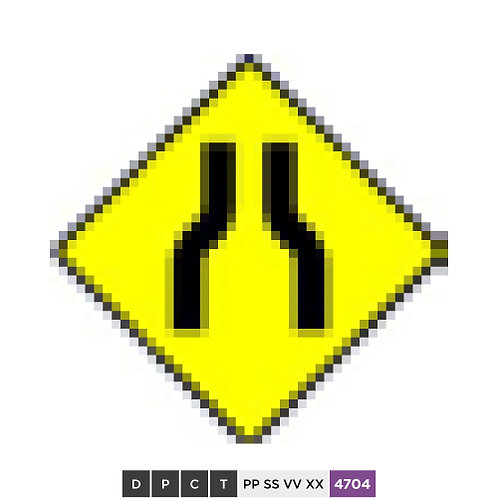 Road narrows on both sides