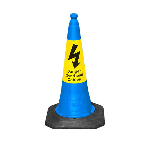 75cm Dominator™ Blue Cone with Yellow Sealbrite™ Danger Overhead Cables