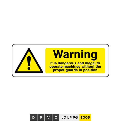 Warning, danger and ilegal to operate without proper guards