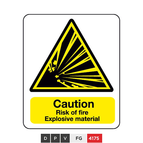 Caution, Risk of fire, Explosive material