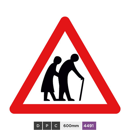 Frail (or bind or disabled if shown) pedestrians likely to cross road ahead