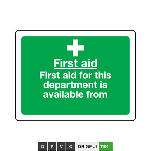 First Aid, First Aid for this department is available from (insert text)