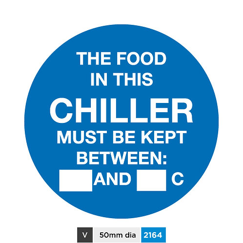 The food in this chiller must be kept between (insert text)