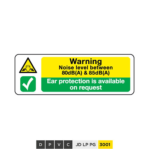 Noise level emissions warning, Ear protection is available on requests