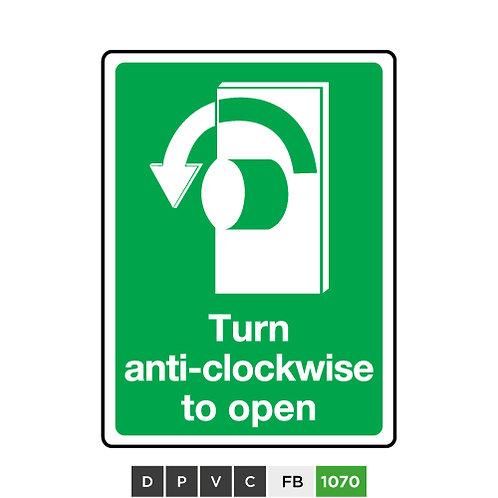 Turn anti-clockwise to open