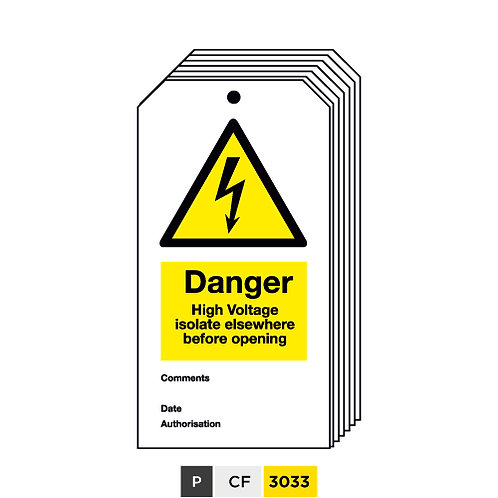 Danger, High Voltage, isolate elsewhere before opening