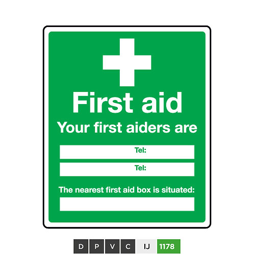 First Aid, Your first aider are (insert texts)
