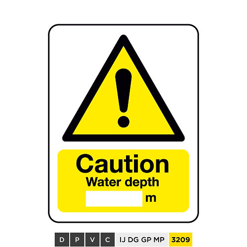 Caution, Water depth (insert text) m