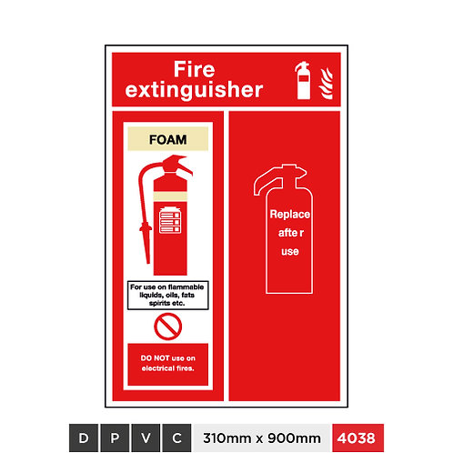 Fire extinguisher, Foam, Replace after use