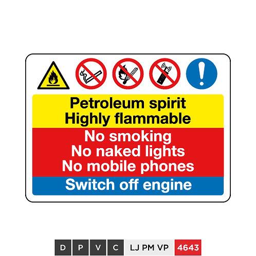 Petroleum spirit Highly flammable, No smoking, No naked lights, No ...