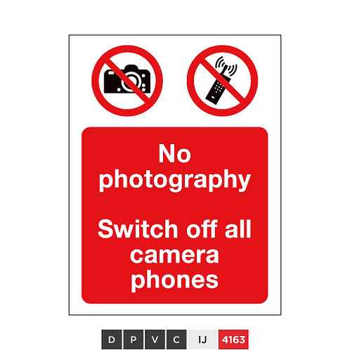 No photography, Switch off all camera phones