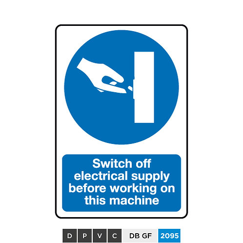 Switch off electrical supply before working on this machine
