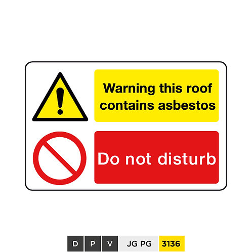 Warning this roof contains asbestos, Do not disturb