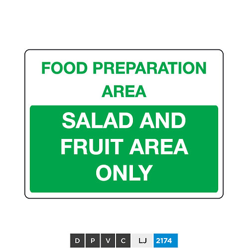 Food preparation area, salad and fruit area only