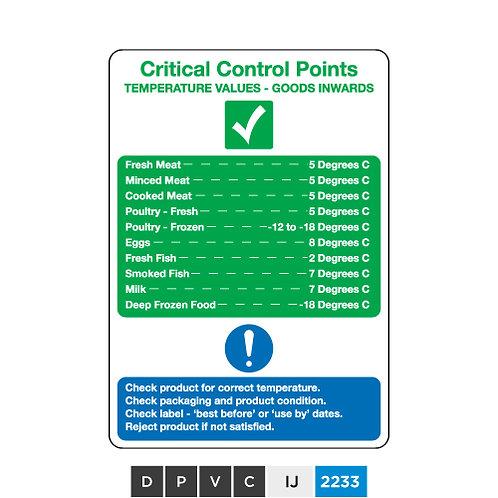 Critical Control Points, Temperature Values - Goods inwardss