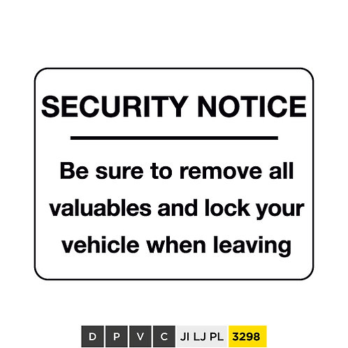Security notice, Be sure to remove all valuables and lock your vehicle when ...