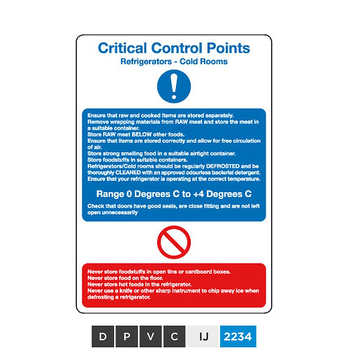 Critical Control Points, Refrigerators - Cold Roomss