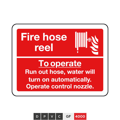 Fire hose reel, To operate, Run out hose, water will turn on automatically, ...